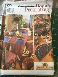 Simplicity Home Decorating Pattern 8350 Place Mats Runner Napkins Tablecloth +++