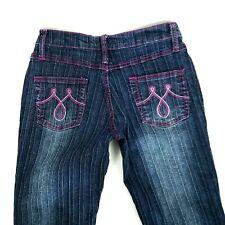 Lazer Jeans Womens Sze 5 Blue Puple Stiches Mini Pleted Pattern Foldef Bootcut