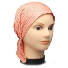 Cotton Fitted Bandana Scarf Headscarf Spots Spotted One Size Peach No tie pop on