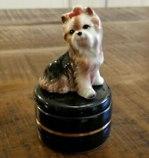 Vtg Takahashi MCM Yorkie Yorkshire Terrier Dog Small Jewelry Trinket Box JAPAN