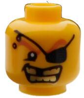 Lego 2 Stück Kopf in gelb Pirat mit Augenklappe Zahnlücke 3626bpb0301 Neu
