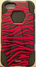 iPhone 7 Hard Plastic and Rubber Cell Phone Pink Black Zebra Case w/Kickstand