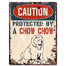 PP2086 CAUTION PROTECTED BY A CHOW CHOW Plate Chic Sign Home Door Wall Decor