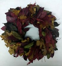 """Vintage Natural 16"""" Wreath With Real Leaves Burgundy, Green, Brown"""