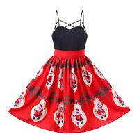 50's Rockabilly Pinup Santa Claus Swing Vintage Floral Christmas Plus Size Dress