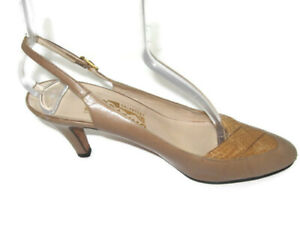 Salvatore Ferragamo Womens Size 8 AAA (Extra Narrow) Leather Adj Slingback Heels