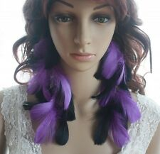 10B1-23 Chain Black&Purple Feather Earrings Jewelry 1 Pair Lhf1