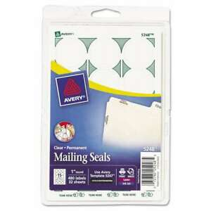 """Avery® Printable Mailing Seals, 1"""" dia., Clear, 480/Pack 072782052485"""