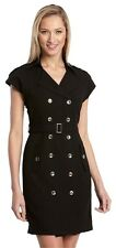 PREMISE 90's BLACK DOUBLE BREASED CAP-SLEEVE JACKET SHIRT DRESS W/ BELT 10 M