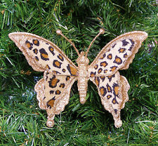 GOLD GLITTERED BUTTERFLY CHRISTMAS ORNAMENT w/ LEOPARD VELVETEEN FABRIC WINGS