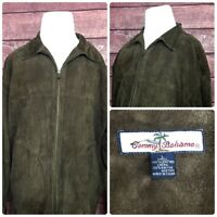 Tommy Bahama Mens Suede Leather Brown Coat Jacket Full Zip Size Large