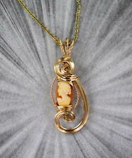 VINTAGE ANTIQUE SHELL CAMEO PENDANT, NECKLACE --- 14KT ROLLED GOLD w chain