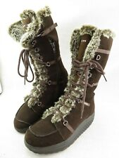 Skechers Shape Ups Elasticity Women's 9 Brown Faux Fur Knee Tall Boots 11812