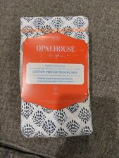 Opalhouse Cotton Percale 2 King Pillowcases Indigo Print Embroidered Hem NEW