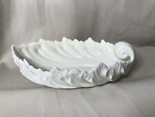 Lenox Cream Color Porcelain Oval Leaf Acanthus Bowl Gold Stamp Off White Vase