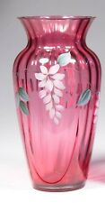 Fenton Cranberry Hand Painted Vase-1993-Signed D.Barbour and G.Fenton #491-10.5""