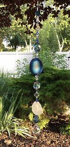 Handmade Healing Stone Agate Quartz Suncatcher/Prisms W/Swarovski Crystals USA