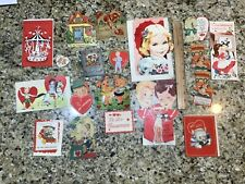 17 Vintage Valentines Day Cards. Only 1 is Written On. 2 Very Large