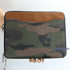 NWT Coach Camo Print Zip Tablet Business Tech Case Folio F64427 Green Camouflage