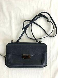 Authentic Tumi Navy Blue Leather Wallet Zip Around Wallet Wristlet Bag w/ Strap