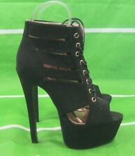 """new ladies lack 6.5""""High Stiletto Heel 2.5""""Platform Lace Up  Sexy Shoes Size 7"""