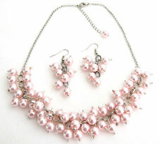 Soft Pink Pearl Chunky Beaded Necklace Set With Earring Bridal Jewelry