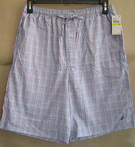 NWT $32 NAUTICA Mens M FRENCH BLUE PLAID Woven Sleep Shorts Cotton Pajamas