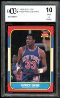 1986-87 Fleer #32 Patrick Ewing Rookie Card BGS BCCG 10 Mint+