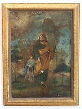 Antique St Joseph Christ Child Mexico Folk Art Painting On Tin Retablo Mexico