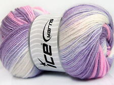 Lot of 4 x 100gr Skeins Ice Yarns MAGIC BABY Wool Lilac Shades Pink White