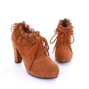 Women's Faux Suede Shoes Block High Heels Platform Lace Up Round Toe Ankle Boots
