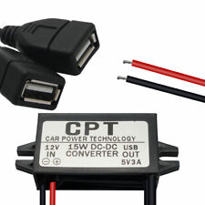 12V to 5V 3A 15W Dual USB Power Supply Adaptor DC Converter Connector for GPS UK