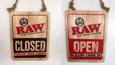 Large RAW Open Closed Sign Rolling Papers Sold Here Hemp Rope Wood Double Sided