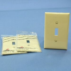 3 Cooper Ivory 1-Gang UNBREAKABLE Mid-Size Toggle Switch Cover Wallplate PJ1V