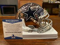 Jimmy Johnson Signed Dallas Cowboys Chrome Mini Helmet HOF 2020 Beckett