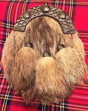 Uomo Abito Completo Kilt Sporran Fox pelliccia Celtic Cantle Antico/Kilt Sporran