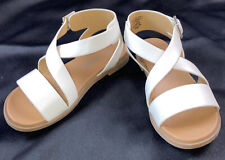 UNR8ED Girls 13.5M White Buckled Sandals  Flat Strappy