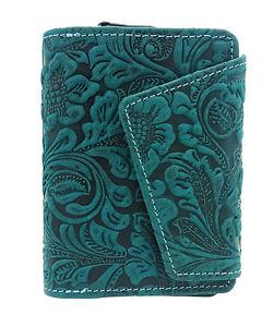 Damen Geldbörse Portemonnaie ölgeprägtes Vollrindleder Jockey Club floral RFID