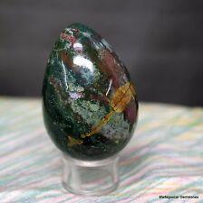 """2.66"""" Gorgeous Green Red Bloodstone Egg Heliotrope Jasper Reiki Ball, Bds79"""