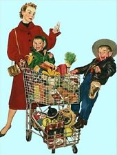 """*Postcard-""""Mom Shops for Groceries...with Kids""""  ...Classic-"""