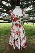 NEW Anthropologie Paper Crown pink Tulip Fit & Flare Dress tie bow shoulders S