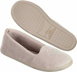 DEARFOAMS velour closed back women's slippers Memory Foam PEWTER (5-6)WIDE