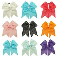 7' Inch Solid Grosgrain Ribbon Rhinestones Cheer Bow With Elastic Band For Girls