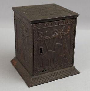 Antique c1882 Cast Iron Key SafeBank Egyptian Arabian Safe Kyser & Rex