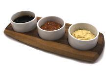 Chef-hub Acacia Wooden Serving Presentation Board W/ 3 DIP Bowls for Tapas Etc