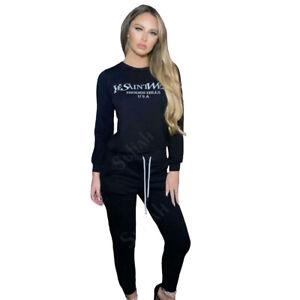 Ladies Yves Saint West Print 2 pcs Loungewear Set Sweatshirt Joggers Tracksuit