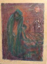 Vintage expressionist pastel painting portrait landscape