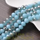 New 20pcs 10X7mm Glass Rondelle Faceted Loose Beads Jade Lake Blue & Gray