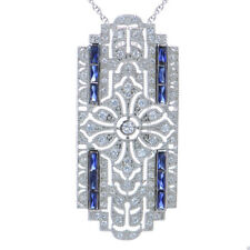 """18K White Gold Finish Simulated Diamond Art Deco Pendant with 18"""" Chain Necklace"""