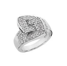 14k White Gold 0.64ct Brilliant Round Cut Diamond Fancy Belt Weddind Band Ring